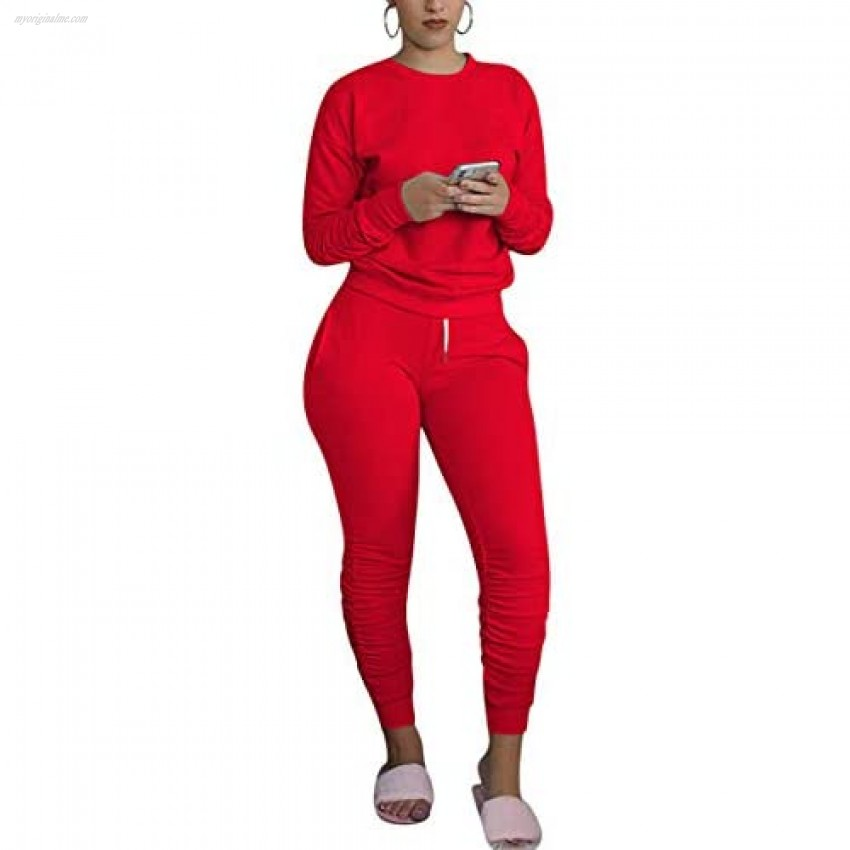 Womens Two Piece Sweatshirt Outfits Set Long Sleeve Crewneck Pullover Top Pleated Slim-fit Long Pants Tracksuits Set