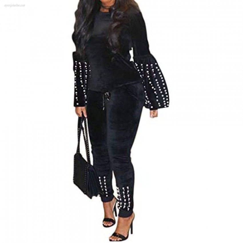 Womens Two Pieces Velour Outfit Crew Neck Pullover Tracksuit Casual Sweatsuits Set