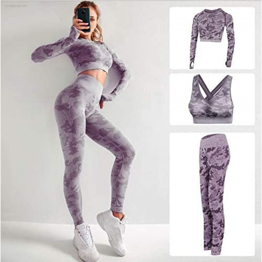 Women's Workout Sets 3 Piece Ribbed Seamless Long Sleeve Crop Tank Top + Sport Bra + Leggings Slim Fit Yoga Gym Outfits