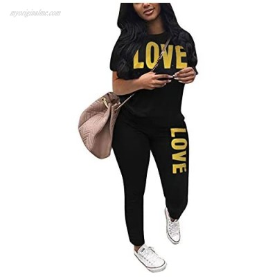 XIAOSHI Women Summer Sweatsuit Sets 2 Piece Short Sleeve Button up Pullover and Drawstring Sweatpants Outfits Tracksuit Set