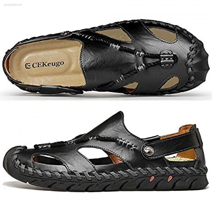 CEKeugo Mens Closed Toe Casual Leather Strap Athletic Beach Outdoor Walking Adjustable Sports Sandals Fisherman Shoes