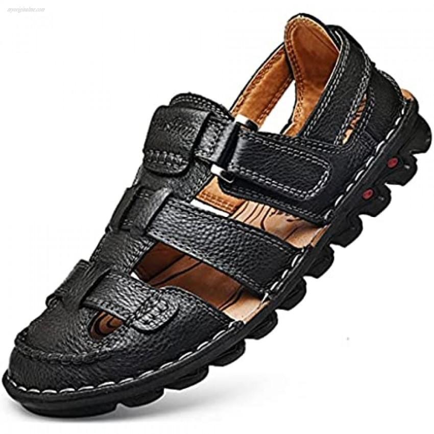JIONS Mens Closed Toe Leather Sandals Men's Summer Outdoor Fisherman Walking Adjustable Velcr Sandals