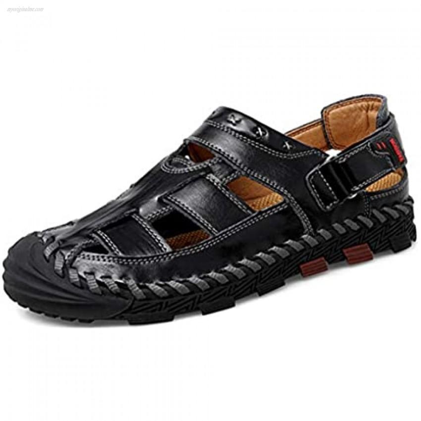 Mens Leather Sandals Closed Toe Summer Outdoor Fisherman Sandal Adjustable Breathable Sport Sandals