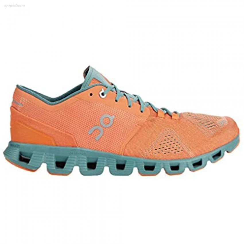 On Running Mens Cloud X Textile Synthetic Orange Sea Trainers