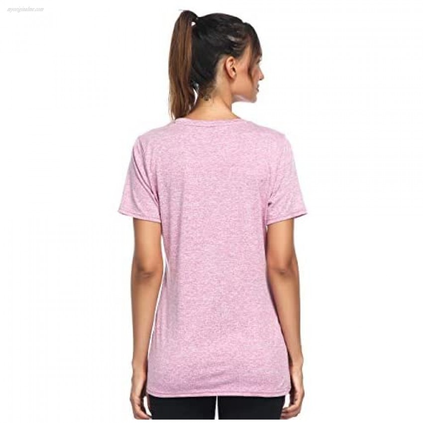 Aunis Women's Short Sleeve Yoga Workout Tops Activewear Clothes Running Quick Dry Sports T-Shirt for Women