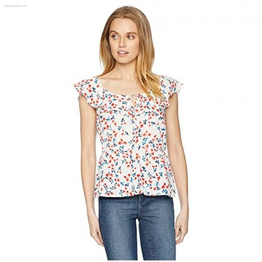 cupcakes and cashmere Women's Betha Foral Ruffle Top
