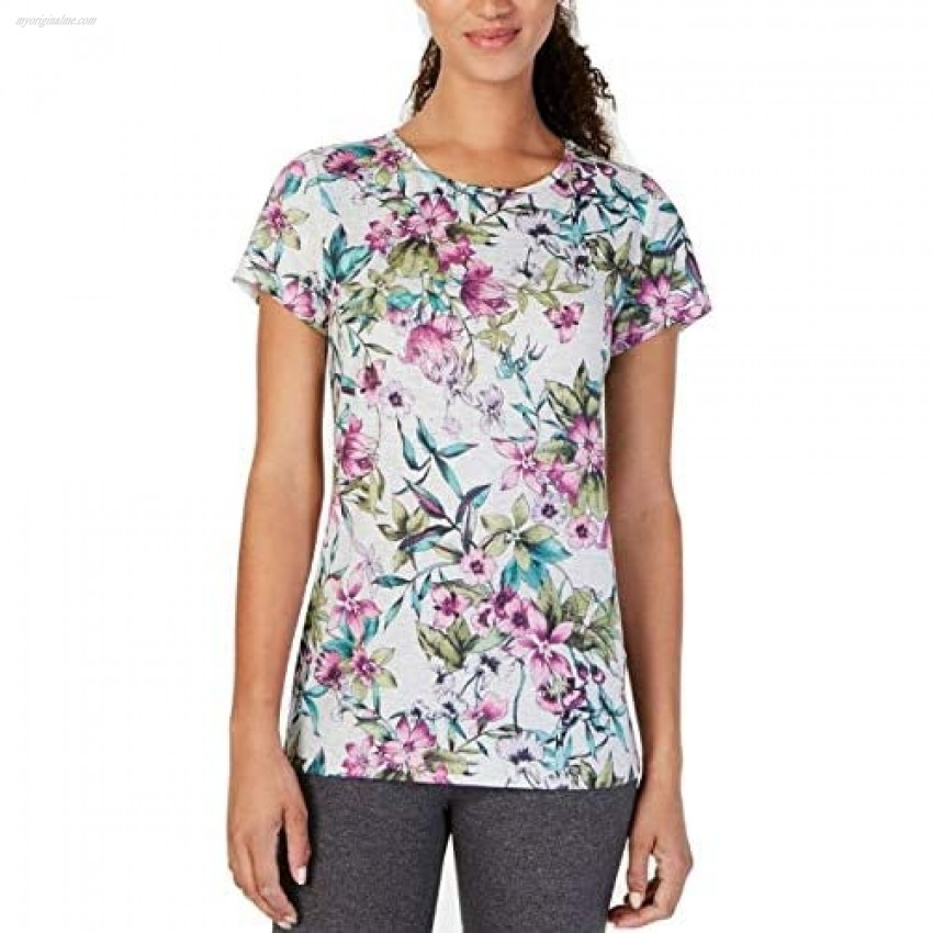 Ideology Floral-Print Keyhole-Back Top White Heather Size X-Small