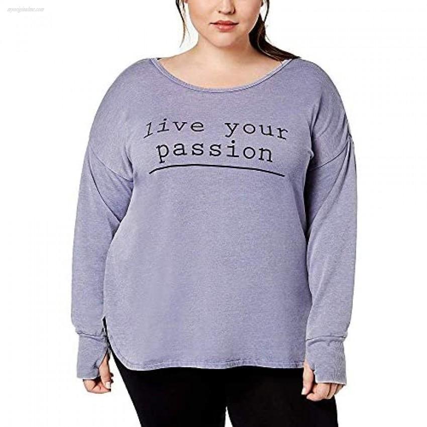 Ideology Plus Size Women's Live Your Passion Graphic Cross-Back; Lavender (3X)