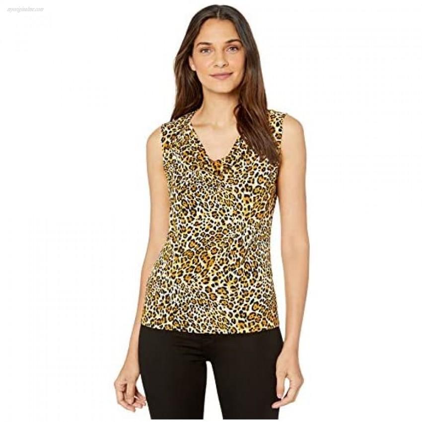 Kasper Women's Sleeveless U-Neck Cheetah Printed Ity