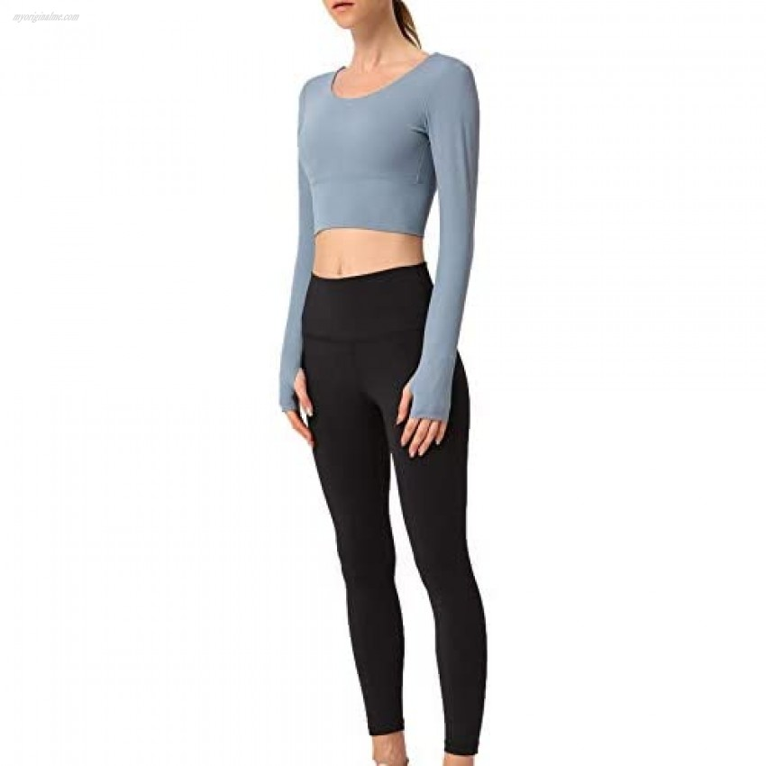Women Workout Crop Tops Clothes Sexy Backless Cross Long Sleeve Yoga Shirts Open Back Sports Gym Quick Dry Tops