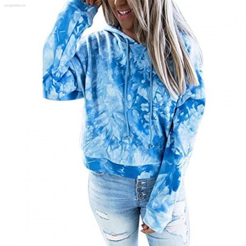 Women's Tie Dye Sweatshirts Drawstring Pullover Hoodie Tops Cowl Neck Long Sleeve Blouse Fall Winter Shirts (Blue