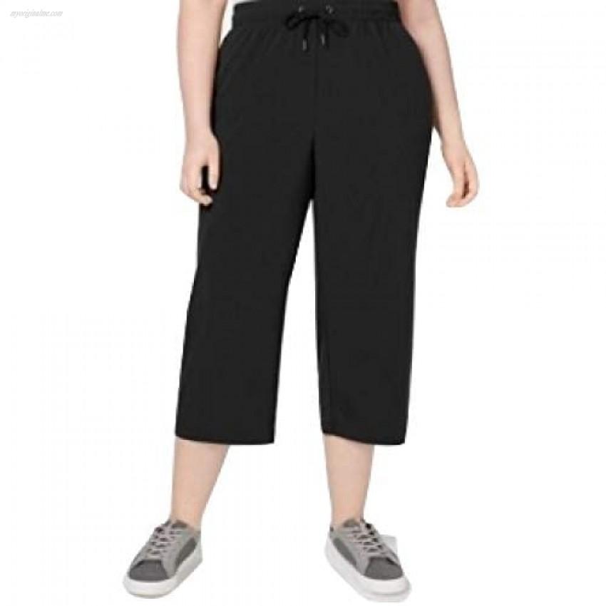 Ideology Plus Size Woven Wide-Leg Cropped Pants Black Size XXX-Large