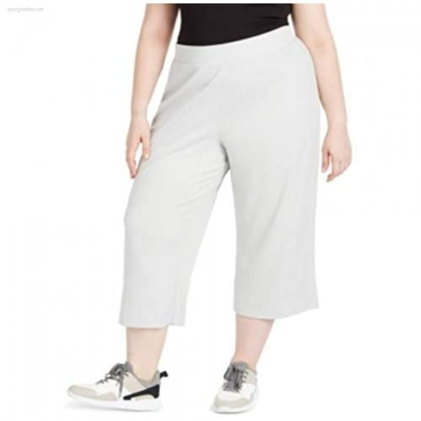 Ideology Womens Plus Ribbed Pull-On Culottes Gray 3X