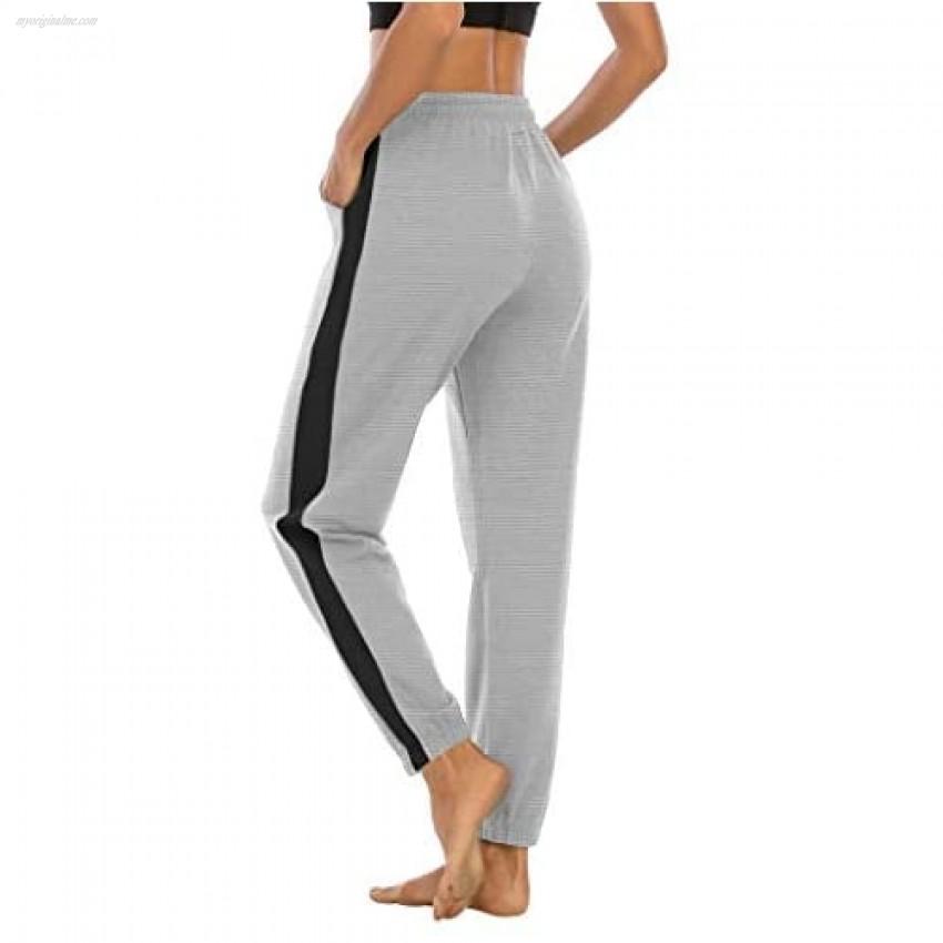 LouKeith Women's Drawstring Sweatpants Joggers Yoga Workout Pajama Athletic Running Lounge Pants with Pockets LightGray+Black L