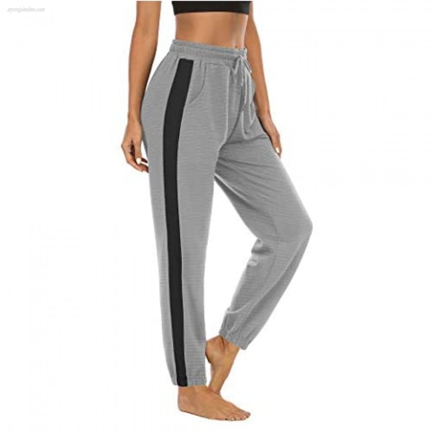 LouKeith Women's Drawstring Sweatpants Joggers Yoga Workout Pajama Athletic Running Lounge Pants with Pockets Darkgray+Black S