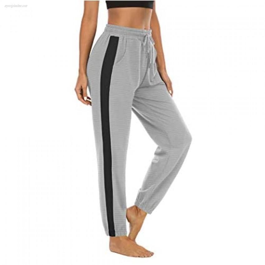 LouKeith Women's Drawstring Sweatpants Joggers Yoga Workout Pajama Athletic Running Lounge Pants with Pockets LightGray+Black M