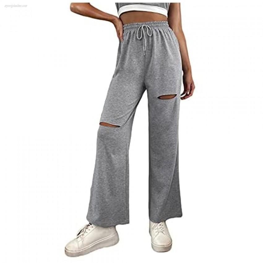 MakeMeChic Women's Cut Out Drawstring Waist Sweatpants Sporty Pants