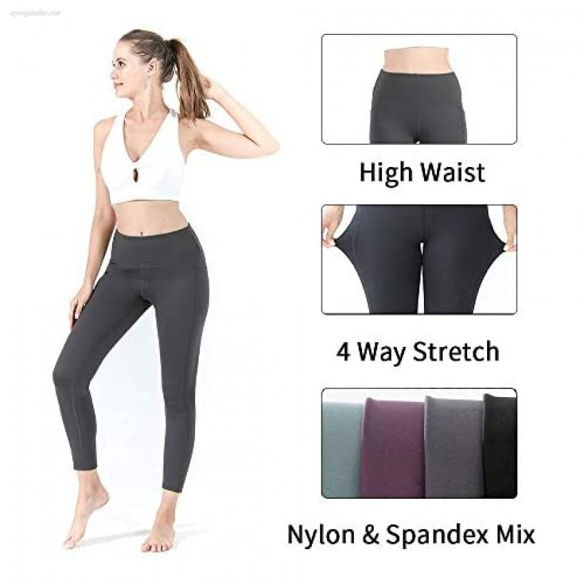 NonBranded Women's Yoga Pants with Pockets High Waist Workout Pants for Women Tummy Control Running Cycling Yoga Leggings Gray