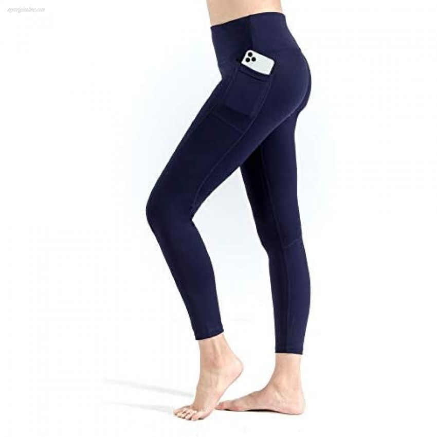 NonBranded Women's Yoga Pants with Pockets High Waist Workout Pants for Women Tummy Control Running Cycling Yoga Leggings Navy Blue