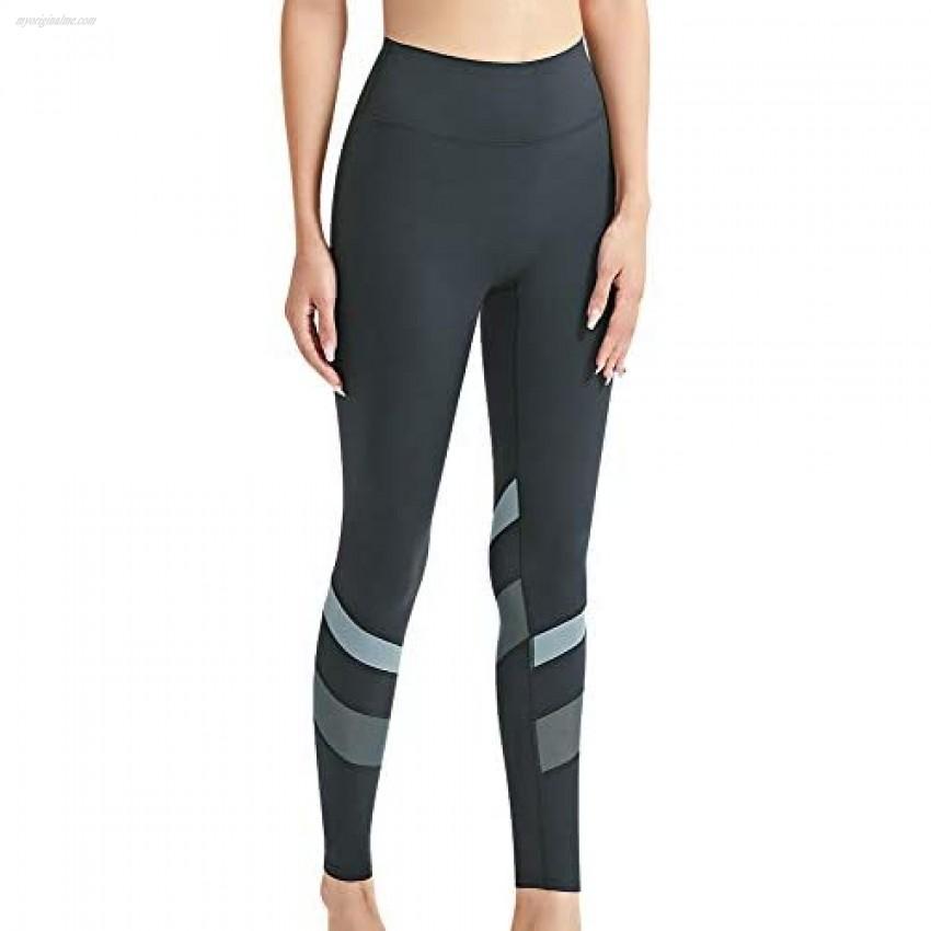 SUSIELADY High Waist Yoga Leggings for Women Ultra Soft Athletic Pants Patchwork Mesh Tummy Control Workout Leggings