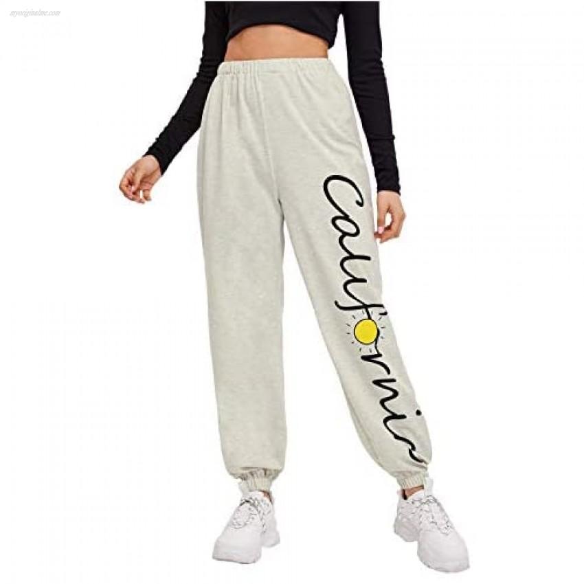 SweatyRocks Women's French Terry Jogger Pants Elastic Cuff Sweatpants Letter Sun Light Grey L
