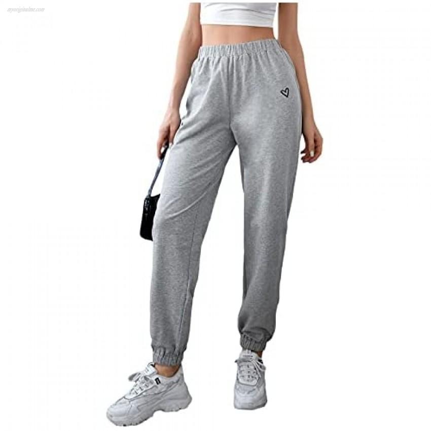 SweatyRocks Women's High Elastic Waist Workout Sweatpants Heart Print Jogger Pants