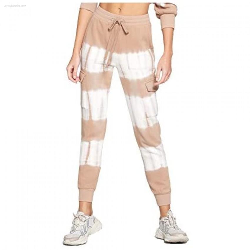 Women's Tie Dye Cargo Style Joggers Sweatpants Active Running Drawstring Sweat Pants