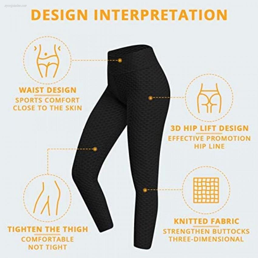YEEPSYS Women's Pants Bubble Hip Butt Lifting Anti Cellulite Legging High Waist Workout Tummy Control Yoga Tights(Black XL)