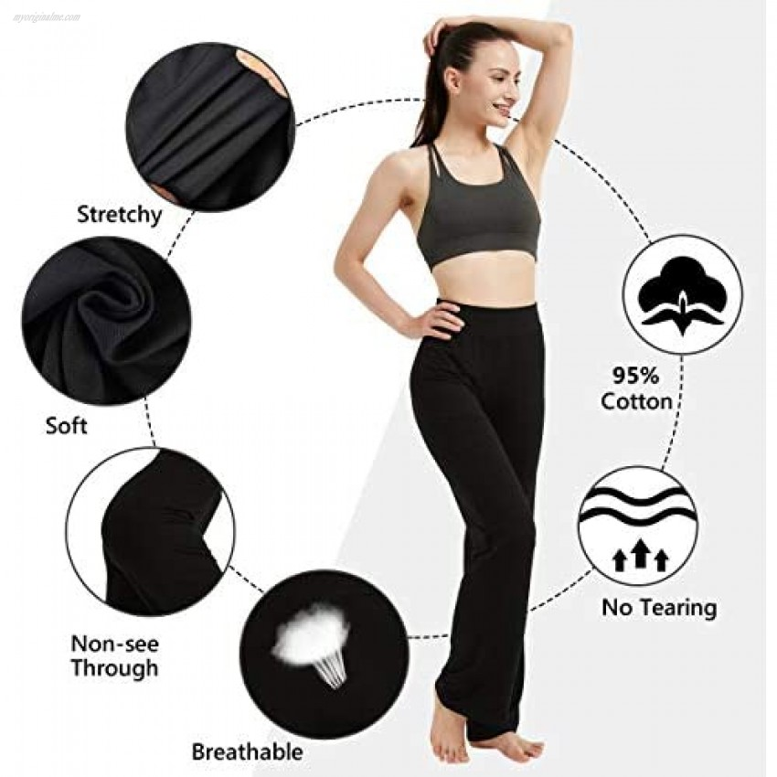 YUPT Workout Casual Lounge Pants for Women Yoga Pants Breathable Soft Comfortable Tummy Control High Waist Bootleg Pants for Women Large Grey
