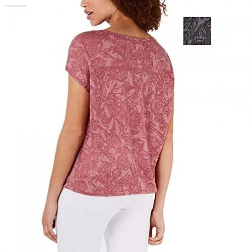 Ideology Womens Printed Drawstring T-Shirt Gray XS