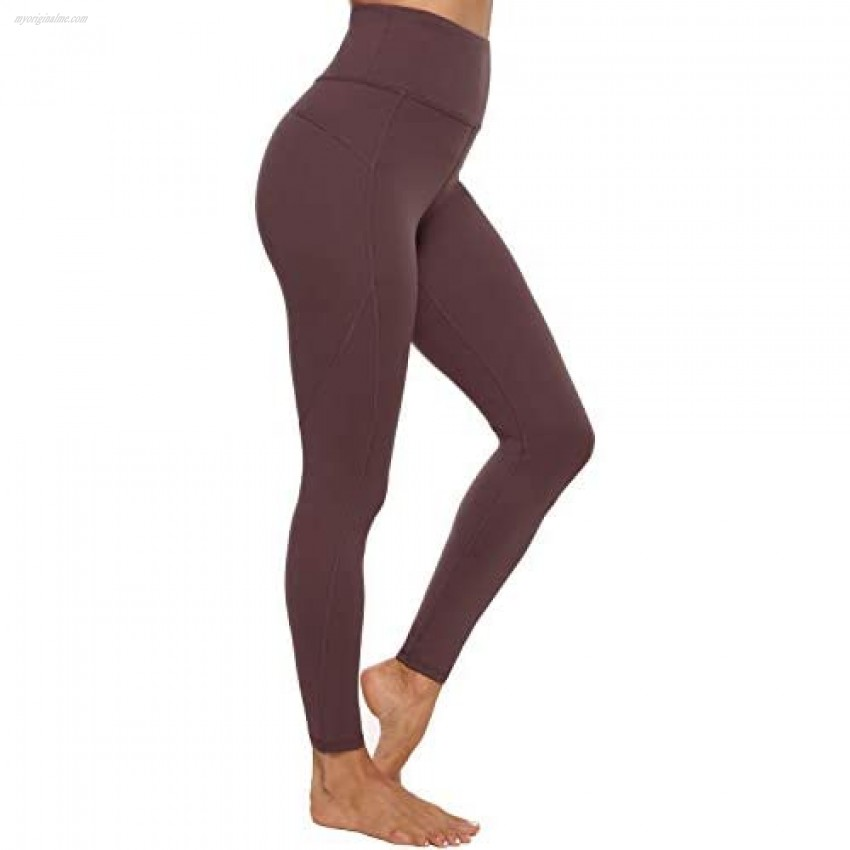 Persit Yoga Pants for Women with Pockets High Waisted Workout Leggings Athletic Gym Yoga Leggings - Wine Red - XS