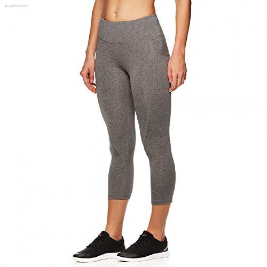 Reebok Women's Printed Capri Leggings with Mid-Rise Waist Cropped Performance Compression Tights - Flint Grey Heather Small