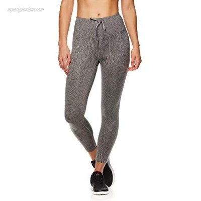 Reebok Women's Printed Capri Leggings with Mid-Rise Waist Cropped Performance Compression Tights - Momentum Flint Grey Heather Small