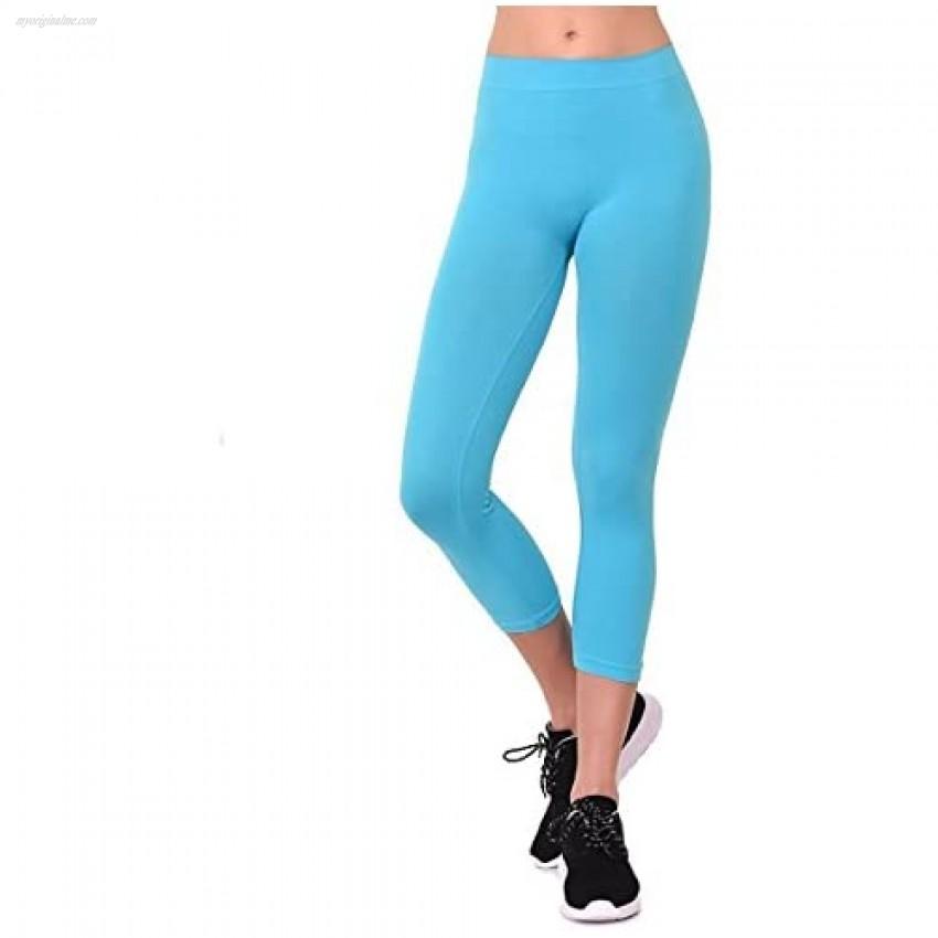 The Lovely Women's Seamless Capri Length Nylon Leggings One Size